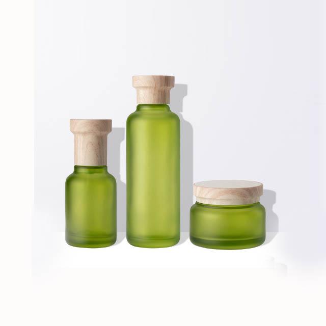 50G Bambus Kosmetik glas 50ML 110ML 130ML Glas lotion flaschen mit Bambus pumpe