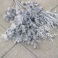 yiwu wholesale high quality wedding decorative silver plastic flower bunches artificial flower
