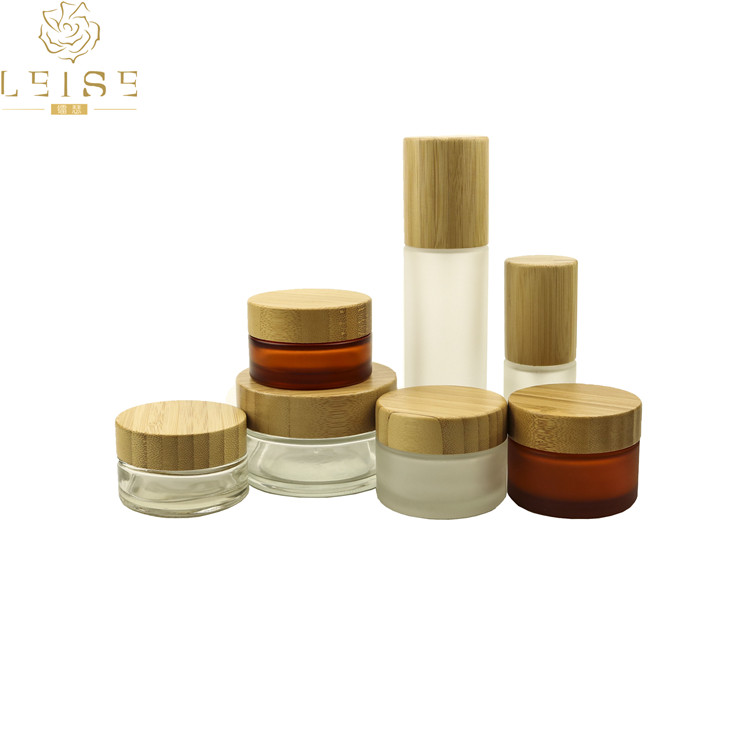 Frosted glass cosmetic cream jars 10g 20g 50g bamboo lid cosmetic cream container