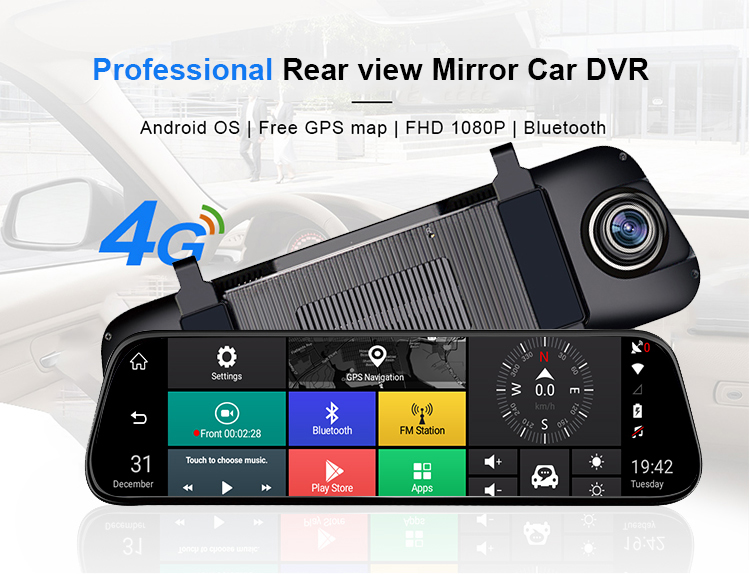 Hawkeye Car Mirror Camera 10 inch Dash Cam Touch Screen Wide Angle Night Vision Mirror DVR with Camera Rearview Video Record