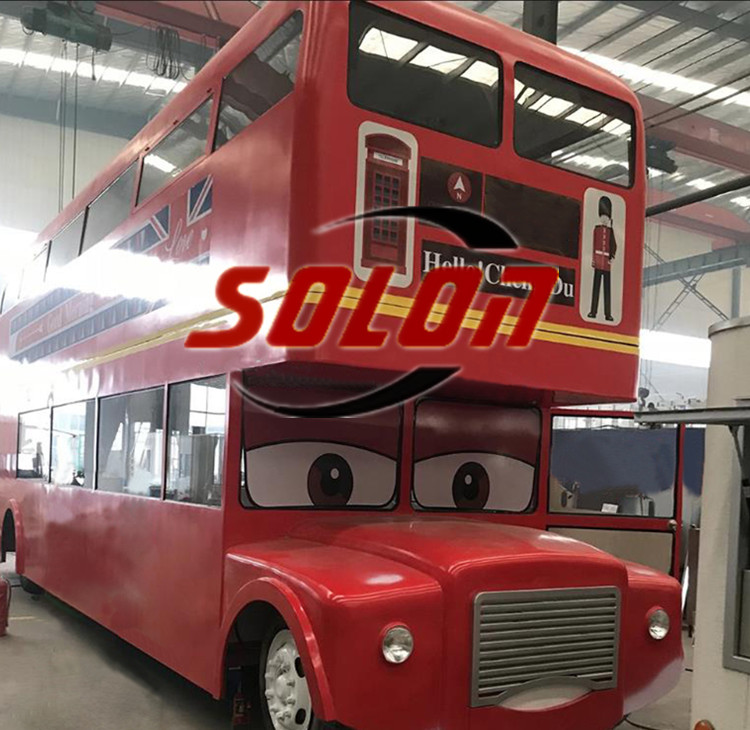 Popular double decker trailer bus street food restaurant