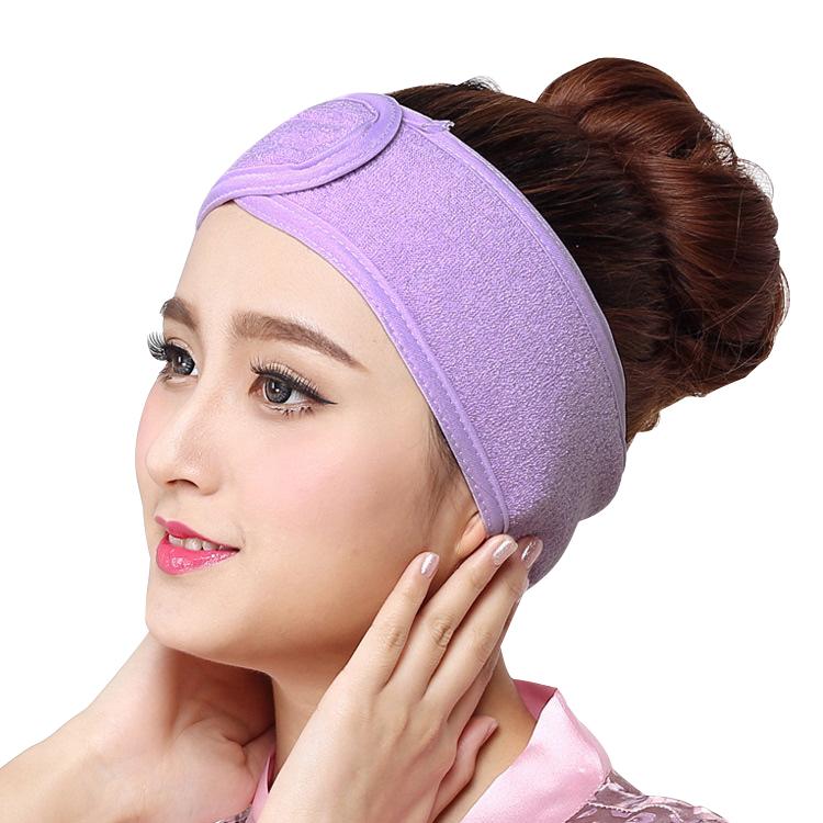 Özel yüz Spa kafa bandı kadın yumuşak flanel elastik banyo bandı makyaj