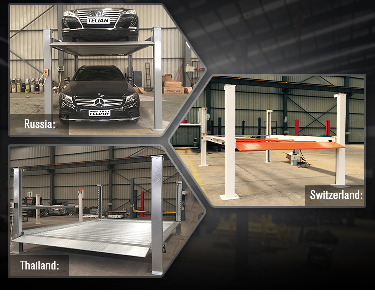 Second hand Four Post Car Parking lift manual single side release system with 4 post parking lift rain coat for choice