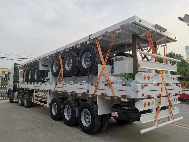 Hot Sale Kunjian Tri Axles Container 3 Axle Flatbed Semi