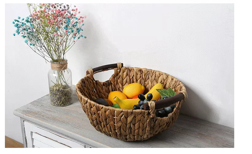Factory sales Water Hyacinth Grass storage basket fruit basket with handles