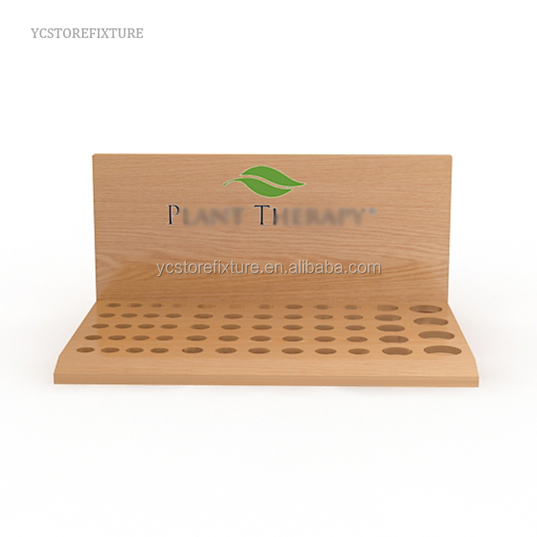 Counter top essential oil wooden rack cosmetic display stand