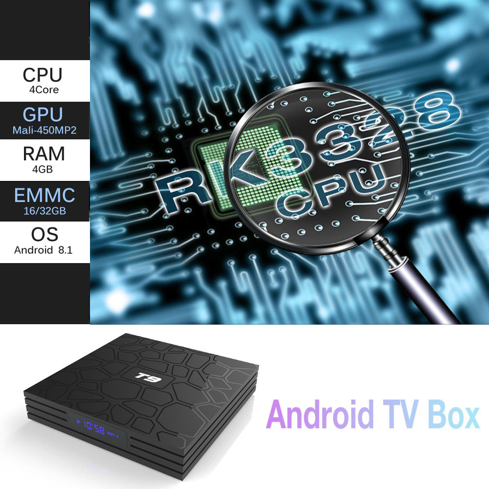 T9 Android10.0 4KPlayer Dual-BandWIFI+BluetoothRK3318 Network TV Box