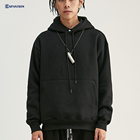 Factory Drop Ship Heavy Streetwear Sweatshirt Mens Athletic Basic Cotton Polyester Over The Head Plain Black Hoodie