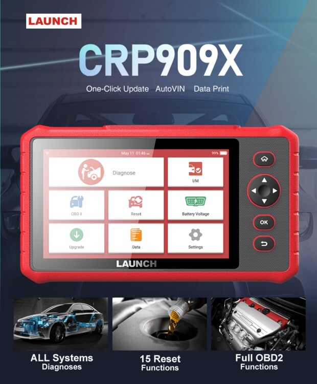 Workshops and DIYers Option LAUNCH CRP909X OBD2 Car Scanner Full Systems Diagnostic Tool