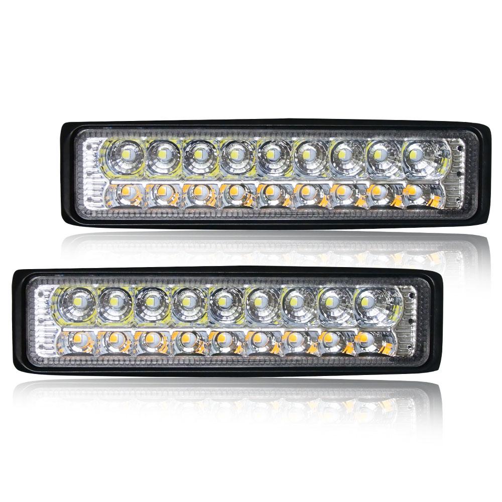 New 24V two-color work light strip spotlight 18W 8000 lumen motorcycle car SUV truck light