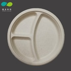 10 Inch Disposable Sugarcane Bagasse Round 3 Compartment Dinnerware Plate