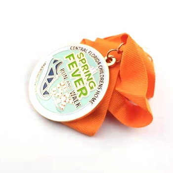 High quality cheap custom souvenir sports metal medal with ribbon