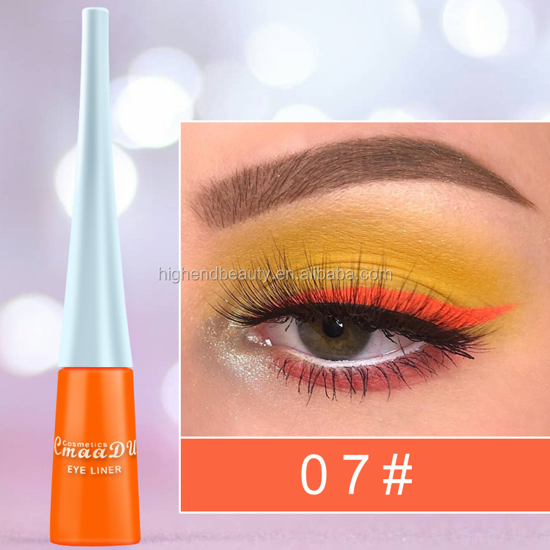 highly pigment Colorful private label waterproof Eyeliner 12colors rainbow neon color eyeliner