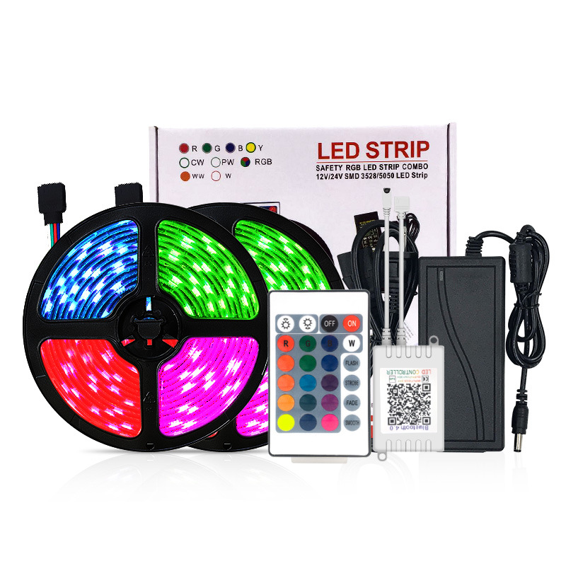 Ip20 Ip65 24 Key Ir Remote Controlled Waterproof 5050 5M 300Led 12V Rgb Led Strip Light With Power Adapter
