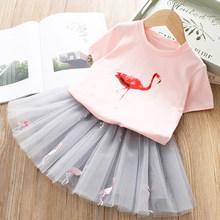 Menoea/Одежда для девочек, летние детские повседневные комплекты одежды для девочек, футболка с мультяшным рисунком + платье, 2 шт., детская одеж...(Китай)