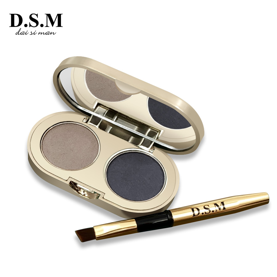 2 Color Eyebrow Powder Makeup Palette Natural Brown Eye Brow Enhancers 3D Eye Brows Shadow Cake Beauty Kit with Brush