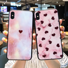 Diamantes de moda Textura de Vidro Temperado Caso Pc Phone para Iphone 11Pro Max 11 XS Pro MAX XR X Casos PC coração Do amor Capa