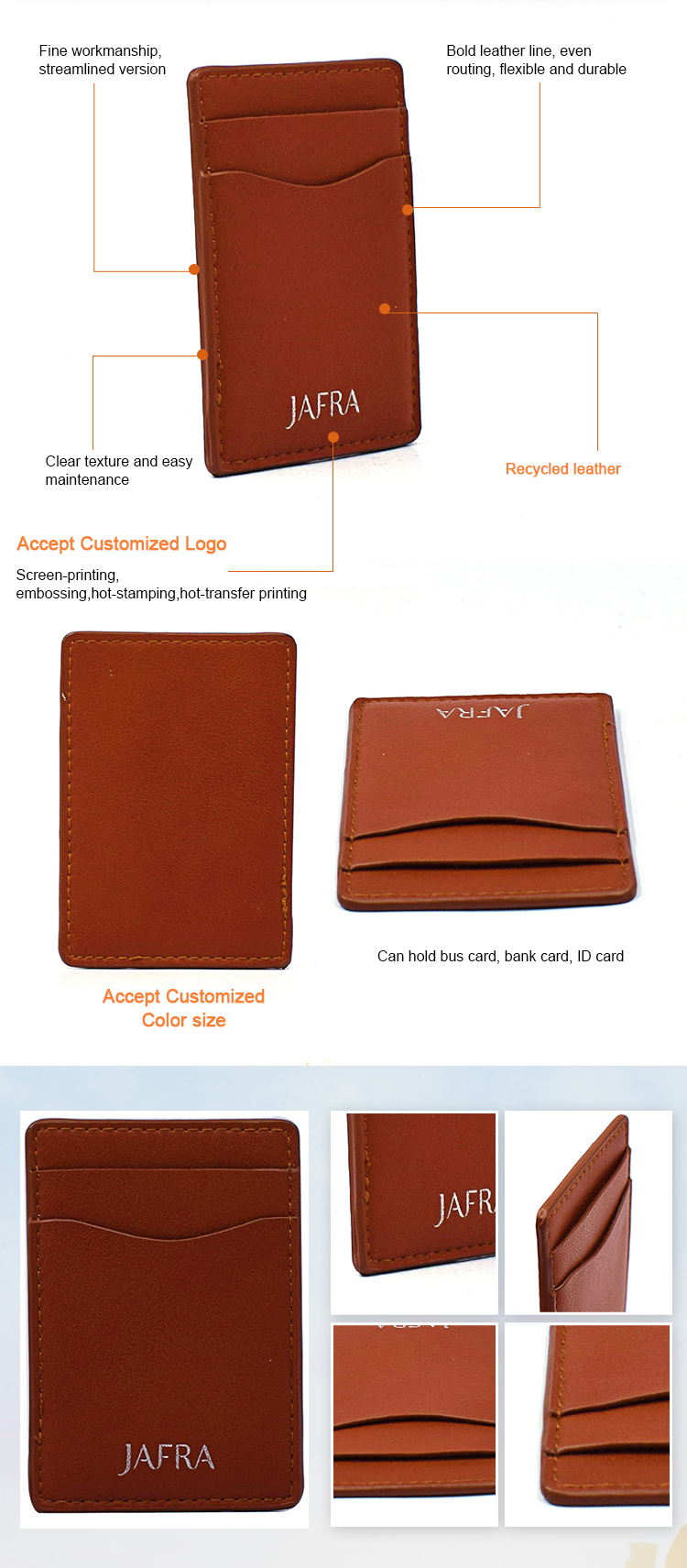 custom business credit rfid recycled leather card holder