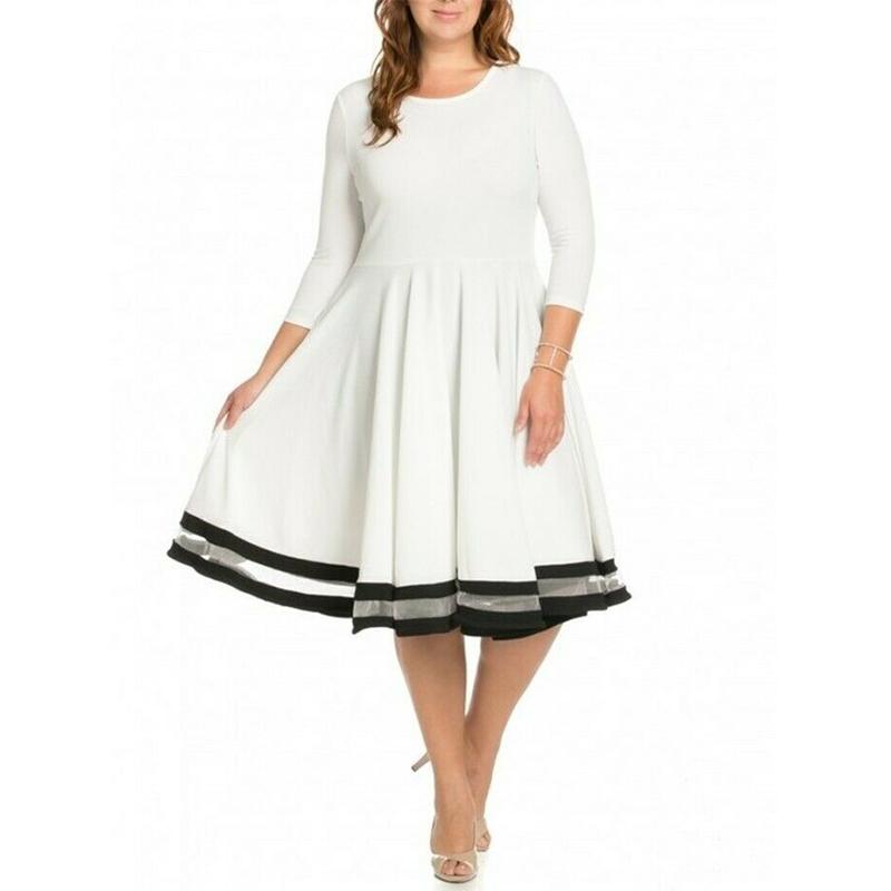 प्लस आकार आकस्मिक सफेद काले फ़िट भड़क स्केटर ड्रेस जाल धारी