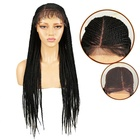 Noble gold new hot sale style lace front braided wigs with baby hair for black women 33 inches high heat fiber braided wigs