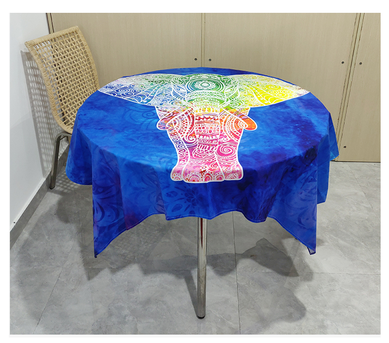 Promosyon Ev Mavi Masa Örtüsü Polyester Özel Baskı Desen