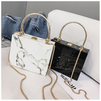 2020 New Marbled Square Box Bag Evening Party Bag Women Clutch Bags
