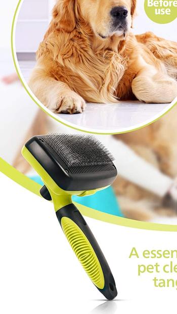 手入れが簡単なグルーミング小さくて大きな犬と猫、短くて長い髪にフィットrosmaxセルフクリーニングスリッカーブラシ、犬のブラシ