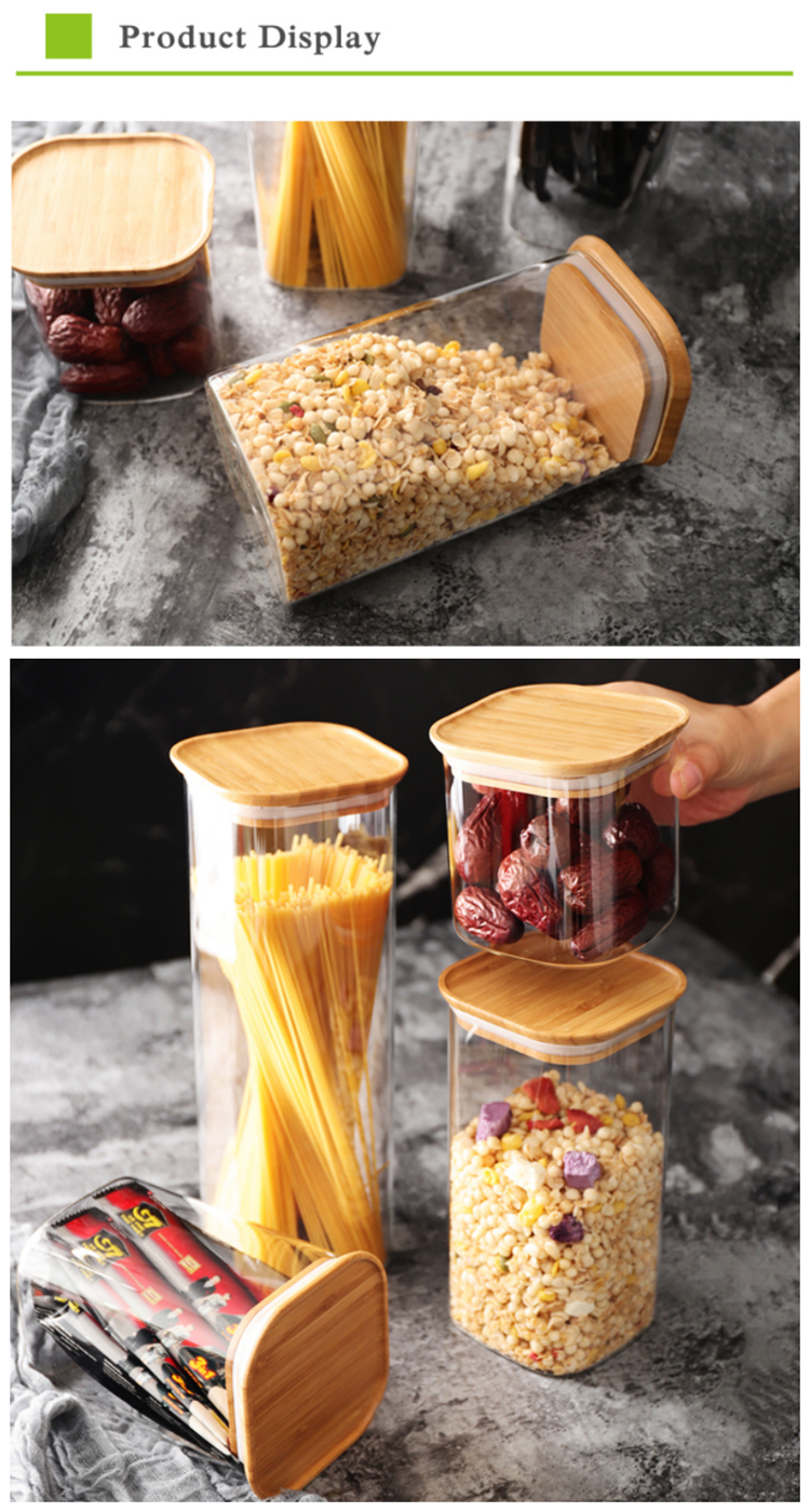 High borosilicate airtight glass canister with bamboo lid