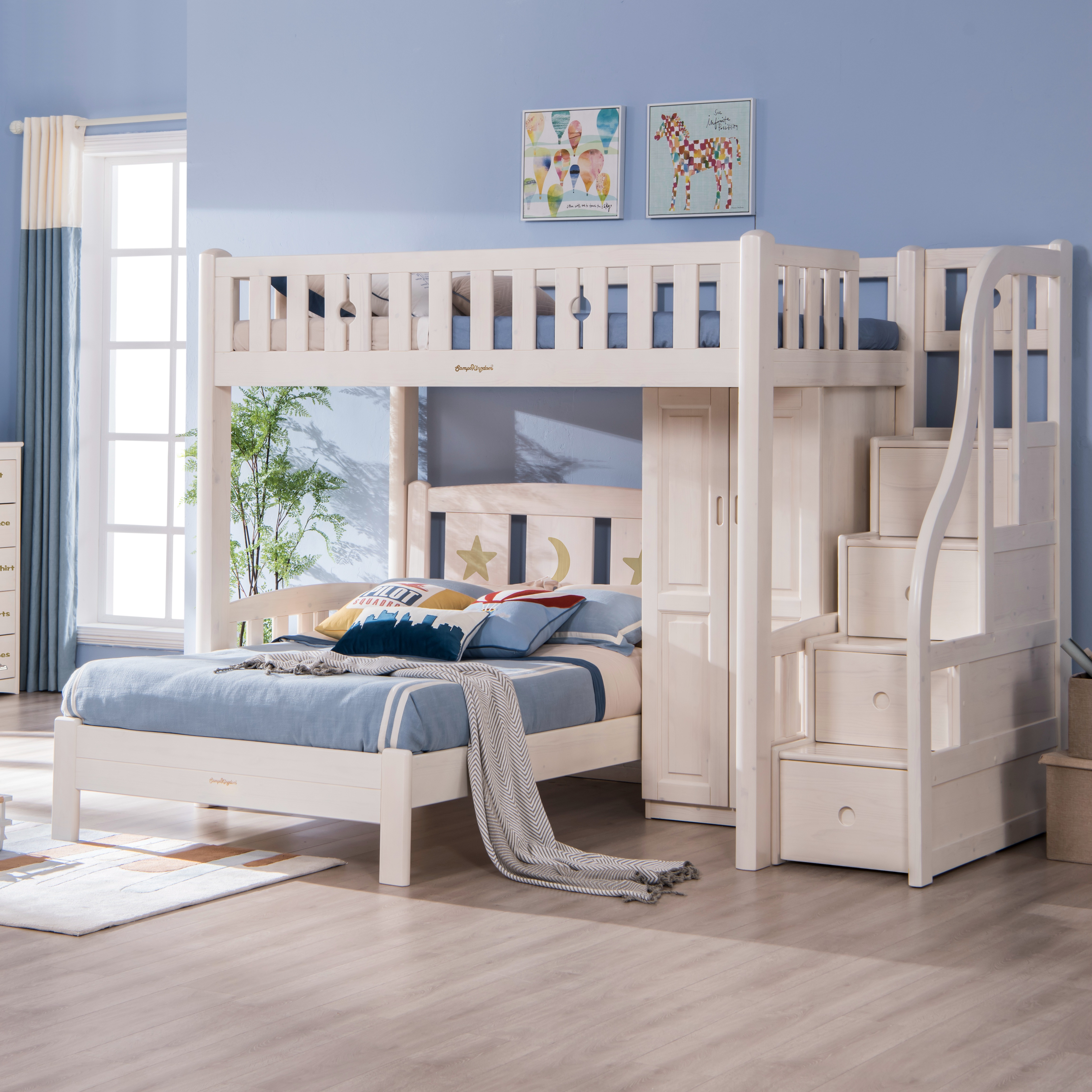Picture of: Children Bunk Bed Solid Wood Triple Bunk Bed Solid Wood Furniture Bunk Bed Buy Twin Double Deck Bed Kids Furniture Cheap Bunk Beds Wooden Kid Double Deck Bed Product On Alibaba Com