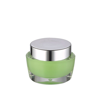 30g beautiful green double wall acrylic cream jar with aluminum silver lid