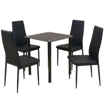 Classic Dining Furniture Set PU Chair and Glass Table