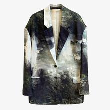 [EAM] Женский блейзер большого размера с принтом, новая свободная куртка с отворотом и длинным рукавом, модная демисезонная куртка 2020 1Y400(Китай)
