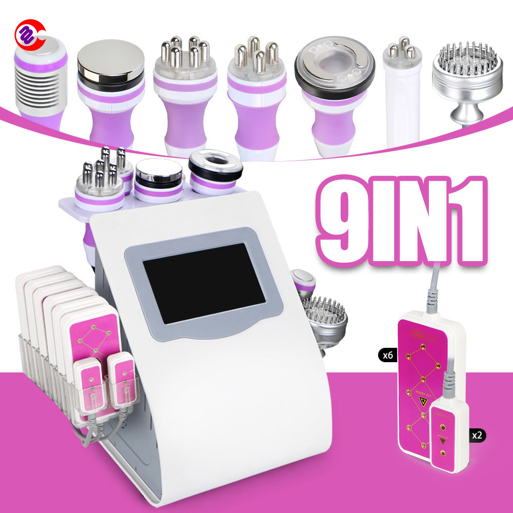 9 In 1 Unoisetion Cavitation Radio Frequency Vacuum Cold Photon Lipo Laser Slimming Machine