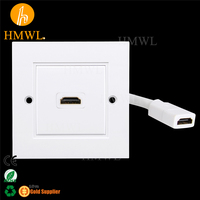 1 port Video HDMI Pigtail Cable UK 86x86 type Wall Face Plate