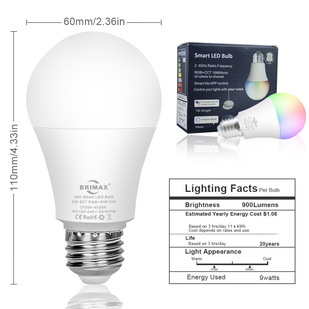 Wifi smart led lamp Kleur veranderende led licht e27 afstandsbediening draadloze RGB lamp