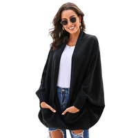 Wholesale Women Fashion Casual Patch Pockets Batwing Sleeve Cardigan