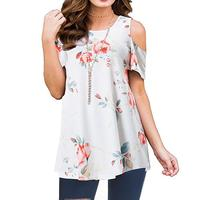 Amazon Hot Selling Wholesale short sleeve print off shoulder women ladies office blouse shirt