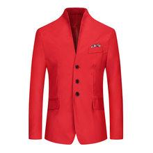 Розовый смокинг, блейзер для мужчин, бренд 2020, стоячий воротник, однобортная Мужская одежда, блейзеры, приталенный, Повседневный, вечерние, С...(China)