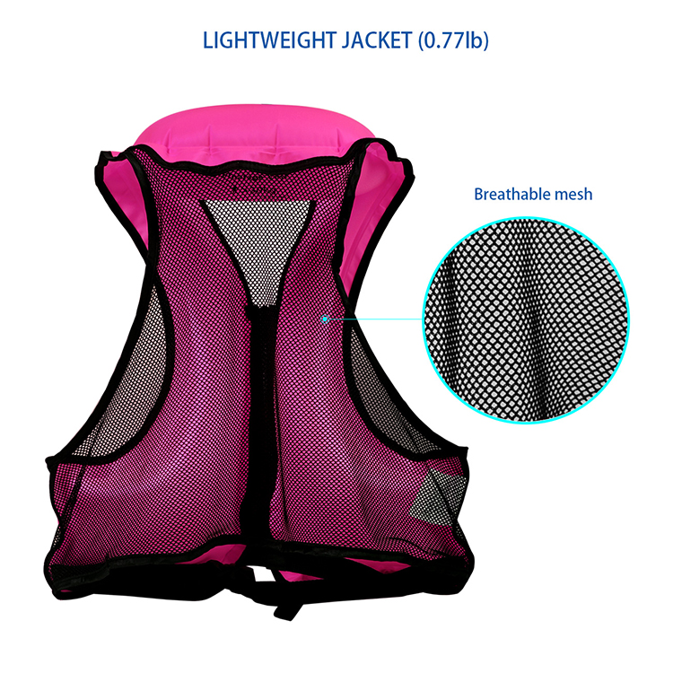 Inflatable adult kids life swim jacket