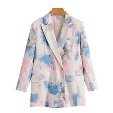 Женский двубортный пиджак KPYTOMOA, винтажный пиджак с длинными рукавами и карманами, верхняя одежда для женщин 2020(Китай)