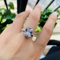 Sevenajewelry SAR7229 Factory direct sale 925 sterling silver square shape white cz wedding ring for men and women