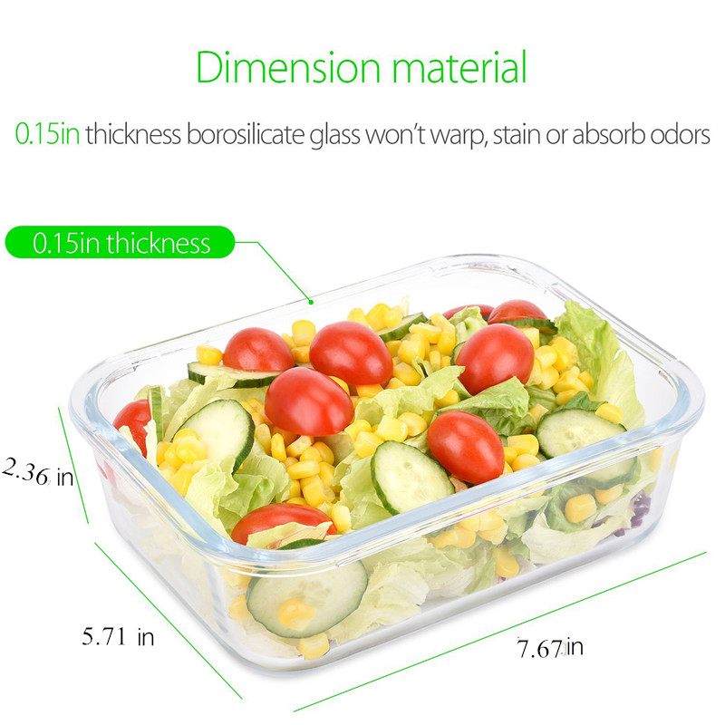 Bpa free food grade glass meal prep containers lunch box with fork and spoon