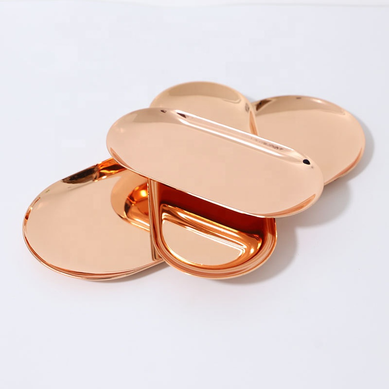 Rose gold plated Metal Plate Storage Tray Decoration 180mm 230mm 300mm Jewelry Ring Bread Dessert Gift Plate MP-01