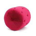 Metal Soft Velvet Round Ottoman Stool Strawberry Color Living Room Decorations Gifts for Friends and Family