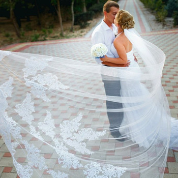 Beautiful Wedding Veils long wedding veilPolyester Soft Tulle Lace Embroidery veils wedding 3M