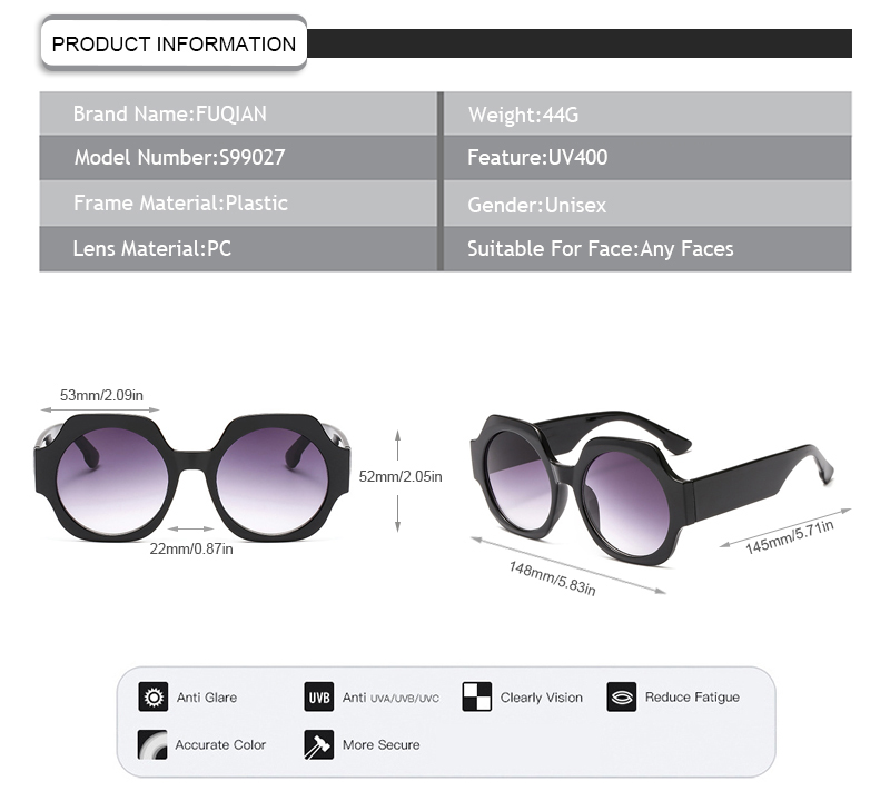 Designer  Authentic Polygon Printing Frame Round Shade Women Men Sunglasses