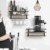 Rustic Wood Floating Shelf Wall Mounted Decor Storage Shelf with 8 Removable Hooks and Towel Bar