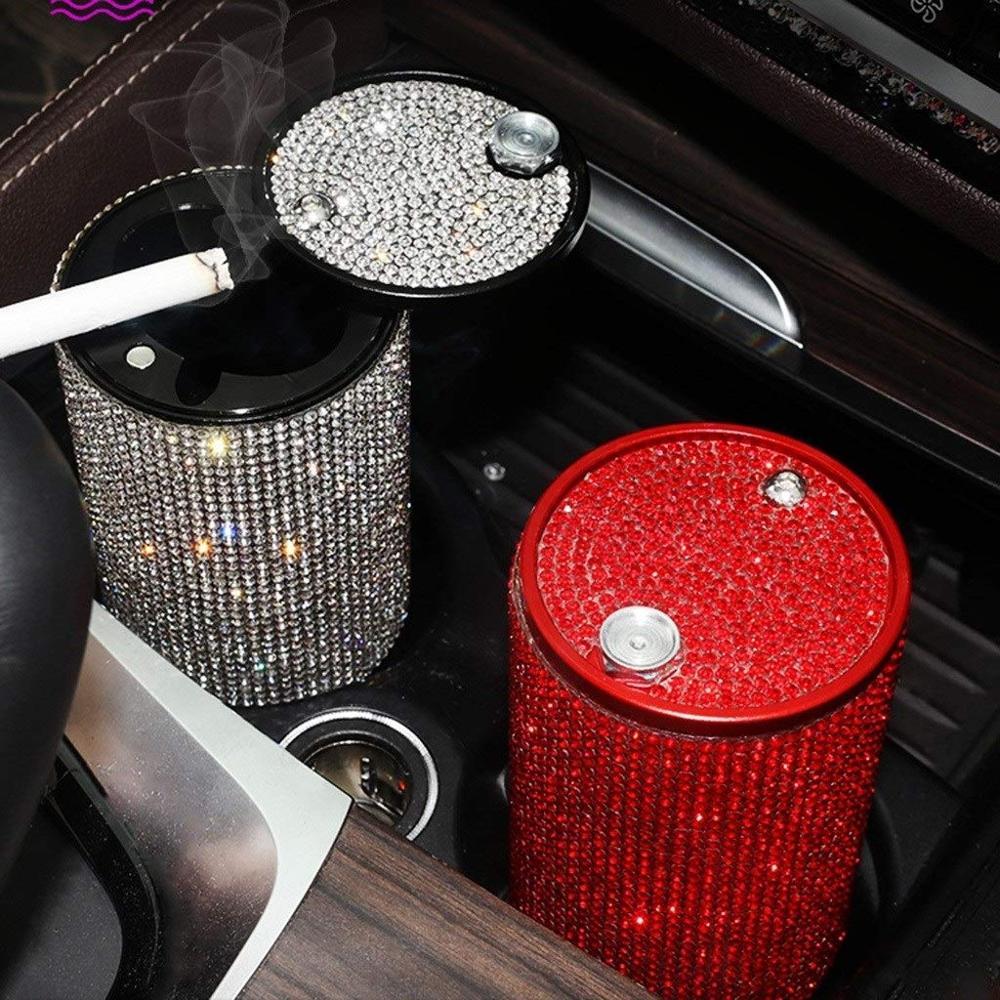 Strass Auto Asbak Met Multifunctionele Persoonlijkheid Bedekt Interieur Auto Accessoires