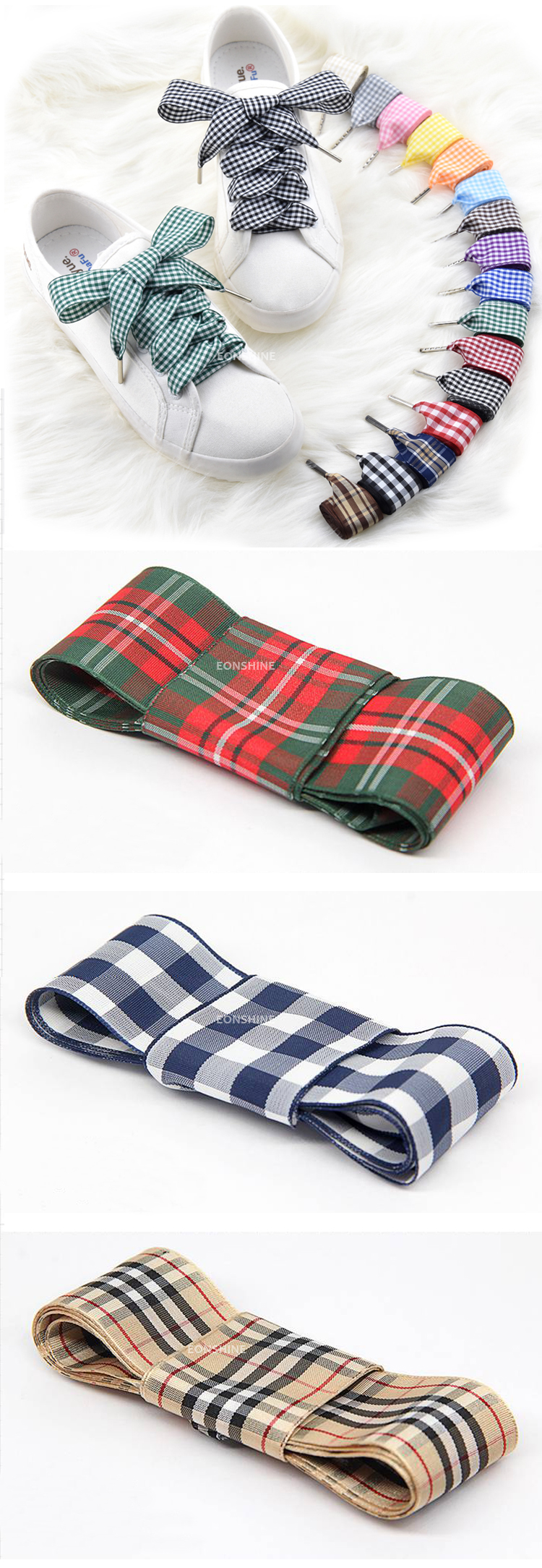 Fashion 120cm long 2.5 cm Wide Scottish Style Soft Polyester Plaid Ribbon Shoelaces for Youths