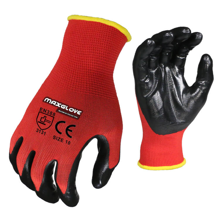 Wholesale 13G Polyester Black Coated Industrial Work Safety <strong>Gloves</strong> with Printing Logo